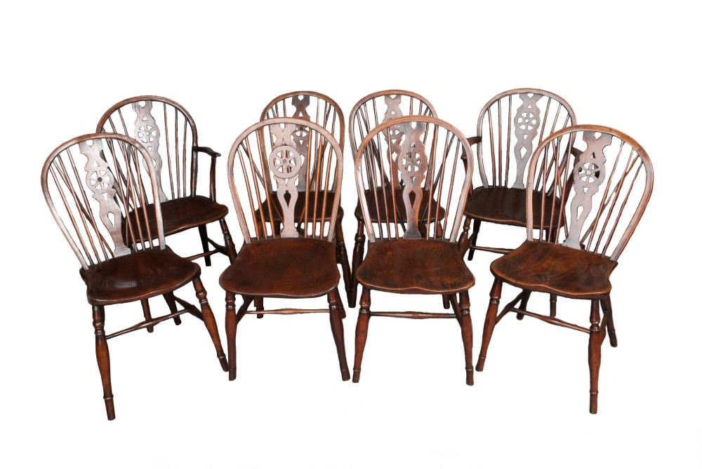 A set of six plus two carvers - Ash and Elm wheelback chairs