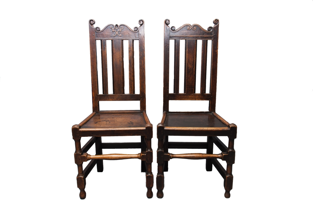 Two Oak high back chairs