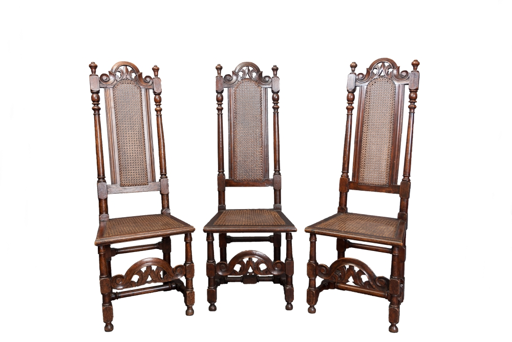 Three Oak and Beech high back Carolean chairs