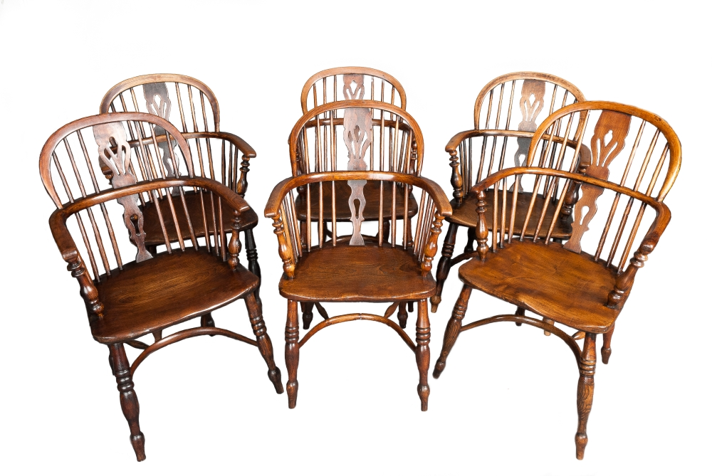 A set of six Ash and Elm Windsor chairs