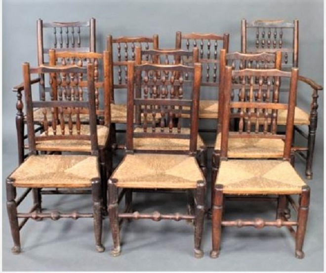 A set of 10 matched George III Lancashire spindle back chairs