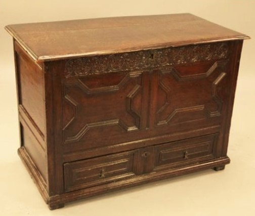 A small Charles II Oak Mule chest
