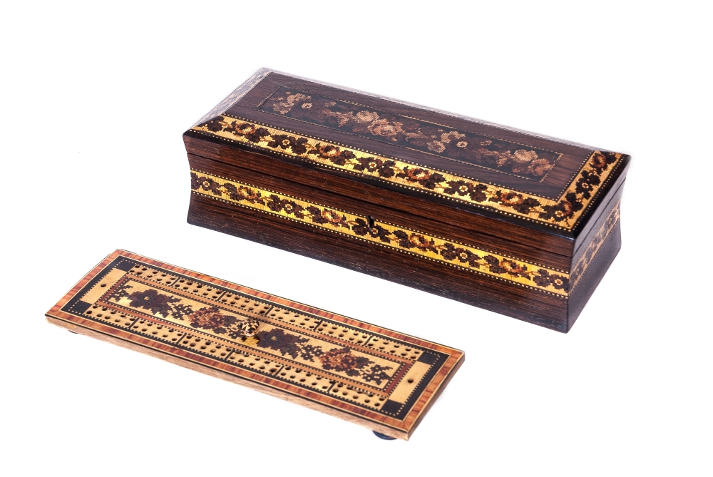 A Tunbridge ware Cribbage box by G Wise Jnr.