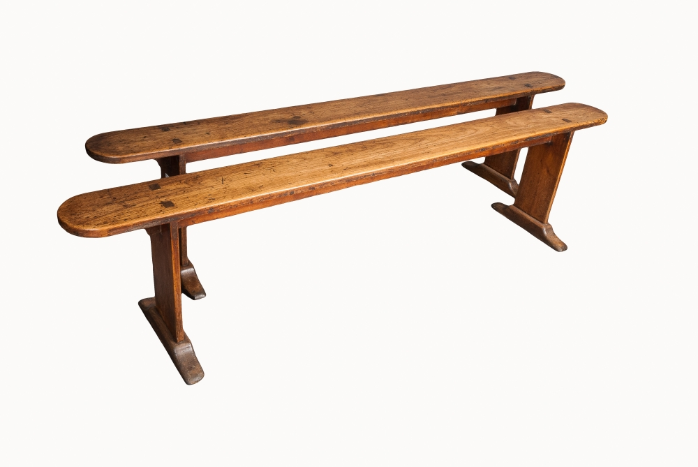 A pair of French cherrywood benches