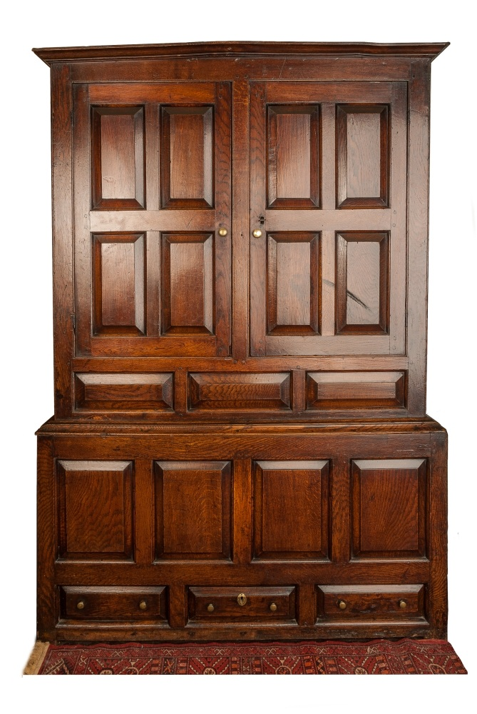 A George II Oak clothes press cupboard